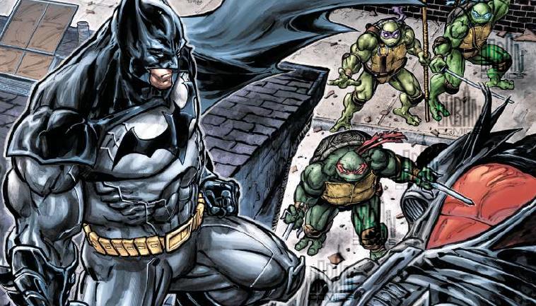 Les Tortues Ninja et Batman autour de la Batmobile