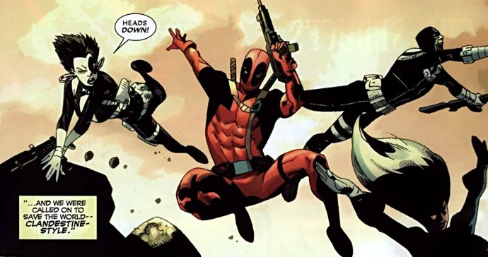 Deadpool avec Silver Sable, Bullseye et Domino